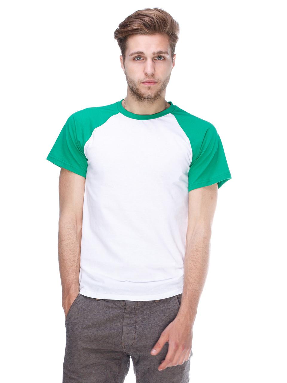 Футболка мужская реглан, бело зеленый