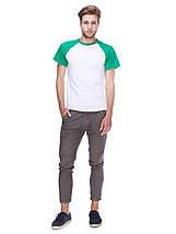 Футболка мужская реглан, бело зеленый , фото 3