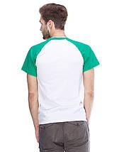 Футболка мужская реглан, бело зеленый, фото 2