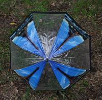 Женский прозрачный зонт трость Париж-4 с закругленной ручкой, механика