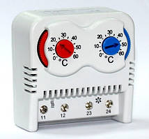 Термостат двойной термо реле регулятор температуры воздуха на DIN дин рейку НЗ НО контакт цена купить