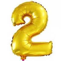 """Фольгированная цифра """"2"""", золото"""