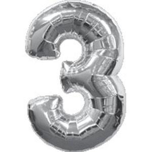 """Фольгированная цифра с гелием """"3"""", серебро"""