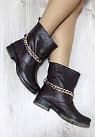 Зимние кожаные ботинки с цепочкой
