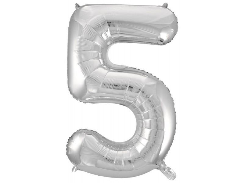 """Фольгированная цифра с гелием """"5"""", серебро"""