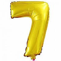 """Фольгированная цифра с гелием """"7"""", золото"""