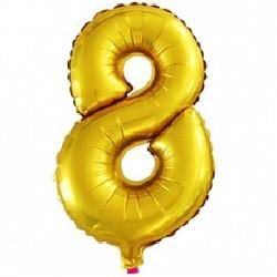 """Фольгированная цифра """"8"""", золото"""