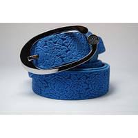 Ремень кожаный женский (голубой)  Andi 1049_007