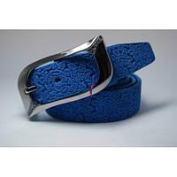 Ремень кожаный женский (голубой)