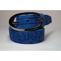 Ремень кожаный женский (голубой)  Andi 1049_028