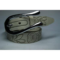 Ремень кожаный женский (бежевый)  Andi 1049_035