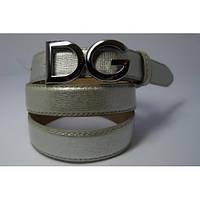 Ремень женский кожаный D&G (серебряный)