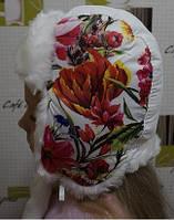 Шапка ушанка зимняя на девочку Цветы (2-4 года)