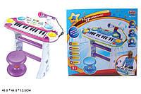 Детский синтезатор с микрофоном и стульчиком пианино