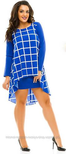 Платье женское полубатал с накидкой клетка