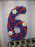 """Цифра из шаров с цветами """"6"""""""