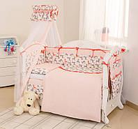 Детский постельный комплект Twins Premium P-035 Бемби 8 предметов, серый/корал