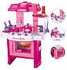 Кухня розовая детская 008-26 электронная (звук, свет,15 предметов)