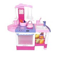 Детская розовая музыкальная игровая кухня 012. кухонные приборы. звуки., фото 1