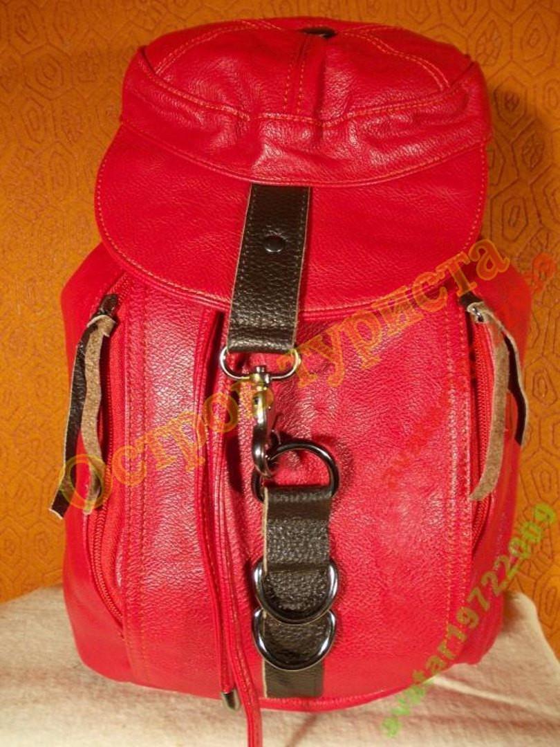 Рюкзак городской женский кожзам-оригинальный красный
