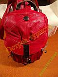 Рюкзак городской женский кожзам-оригинальный красный, фото 4