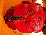 Рюкзак городской женский кожзам-оригинальный красный, фото 5