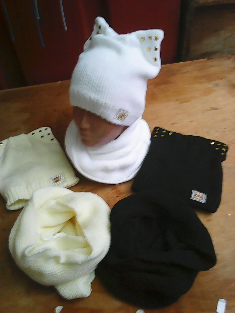 Шапка для девочки с шарфом хомут