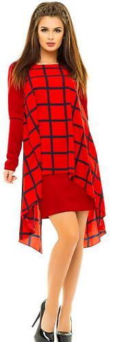 Платье женское  с накидкой клетка