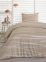 Сатиновое постельное белье Eponj Home Classic Pepino бежевое полуторного размера