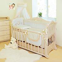 Детский постельный комплект Twins Romantik R-002 Сердечки 8 предметов, бежевый