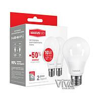 Набор светодиодных ламп MAXUS A60 10W E27 3000K теплый свет 220V 2 шт. (2-LED-561-P)