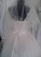 Свадебная фата с вышивкой (КВ-В-Мальва) айвори
