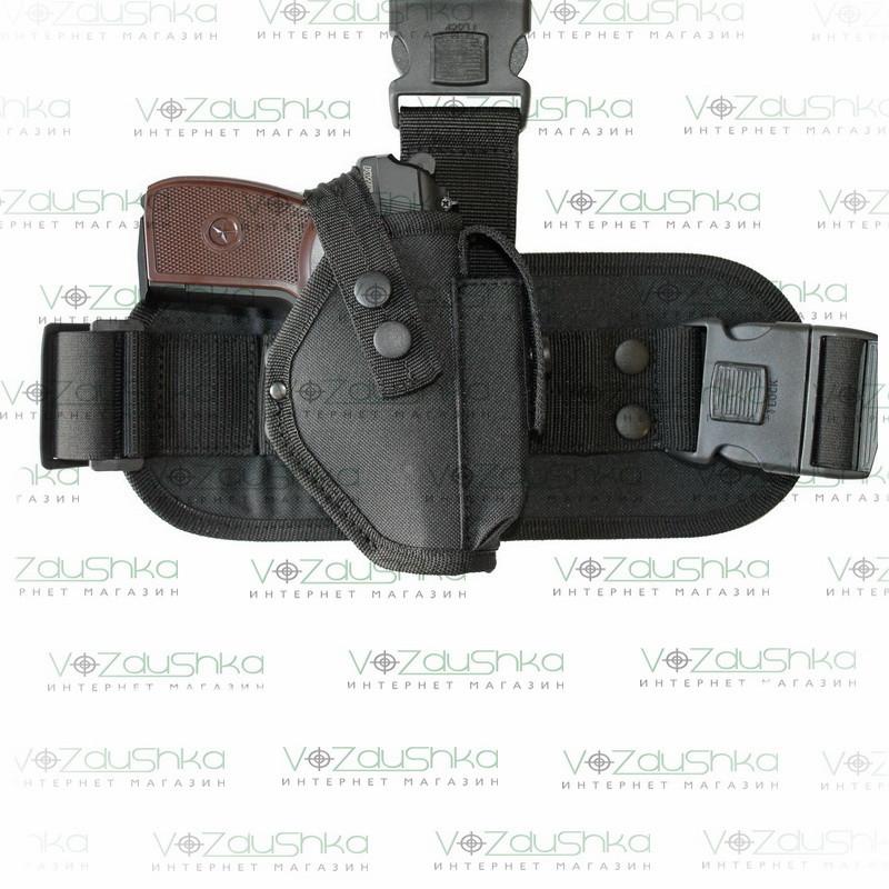 Кобура тактическая набедренная для пистолета пм, черная ткань Оксфорд