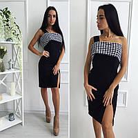 Платье трикотажное на одной бретельке с разрезом 010 (ВИК)