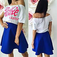 Костюм Barbie короткий топ + юбка-солнце 069 (ВИК)