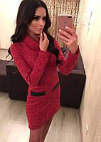 Платье ангора bodycon с кожаной отделкой карманов 449 (БУМ)