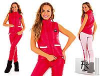 Женский спортивный костюм-тройка стеганная плащевка на синтепоне цвет красный, фото 1