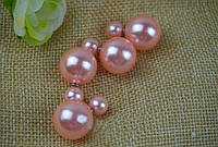 Пусеты жемчуг/бижутерия/цвет розовый с металом под серебро