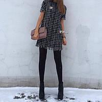 Твидовое платье в стиле CHANEL, Брошка съемная, с камнями Шикарное качество💣цвет только такой ипос №061-290