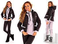 Женский спортивный костюм-тройка стеганная плащевка на синтепоне цвет черный, фото 1