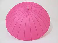 Зонт-трость на 24 спицы  механика однотонный розовый