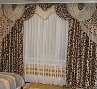 """Ламбрекен со шторами для гостиной """"Блэкаут"""", фото 1"""