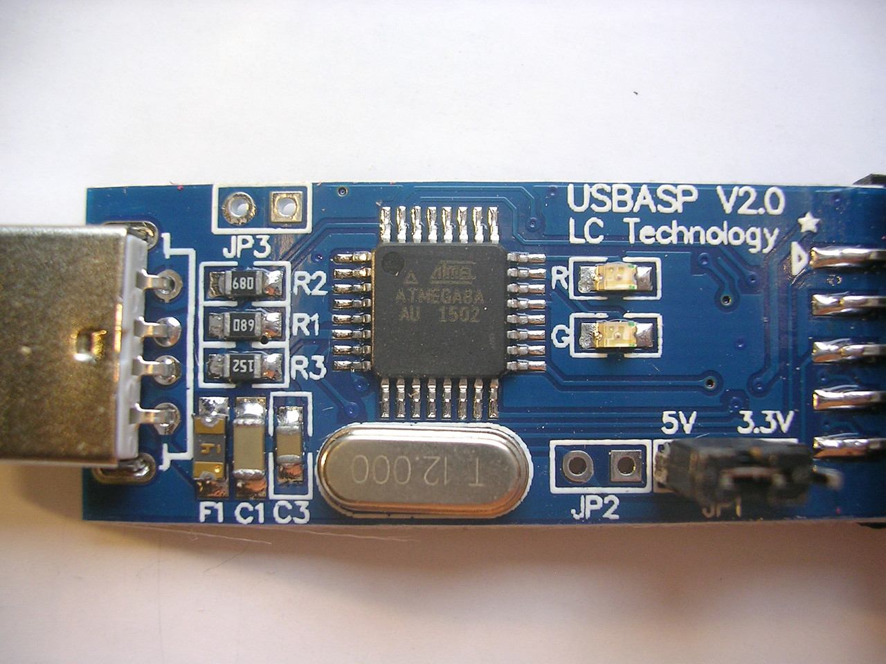 Usbasp Avr 33v 5v Atmega8 Atmel Usb Programmer Circuit Zif Socket 3 5