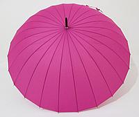 Зонт-трость на 24 спицы механика однотонная малиновая