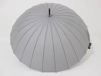 Зонт-трость на 24 спицы  механика однотонная серая