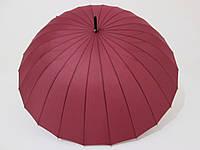 Зонт-трость на 24 спицы  механика однотонный бордовый