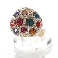 Круглое кольцо с цветными камнями