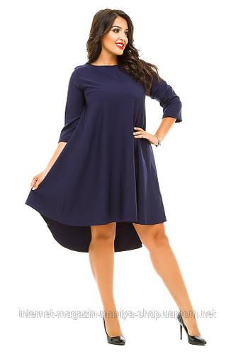 Платье женское полубатал спина бант удлиненное сзади
