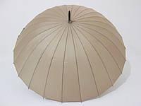 Зонт-трость на 24 спицы механика однотонная бежевая