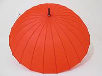 Зонт-трость на 24 спицы механика однотонная красная